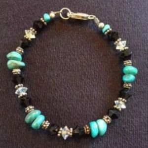 """Jewelry - Sterling 925 Turquoise Stone Bracelet 7"""""""